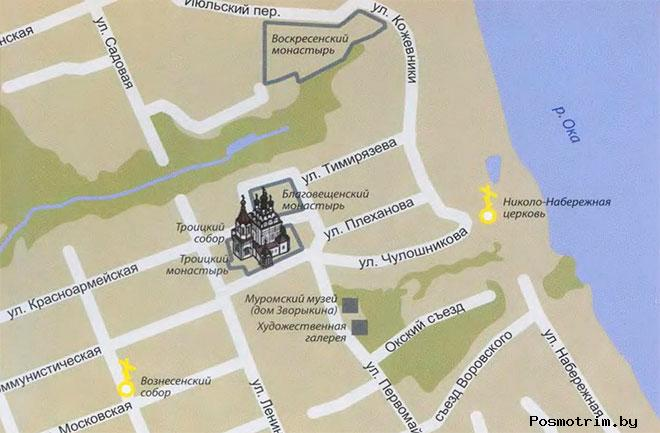 Троицкий монастырь Муром богослужения контакты как добраться расположение на карте