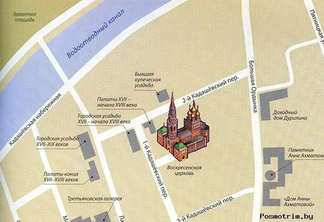 Храм Воскресения Христова в Кадашах богослужения контакты как добраться расположение на карте