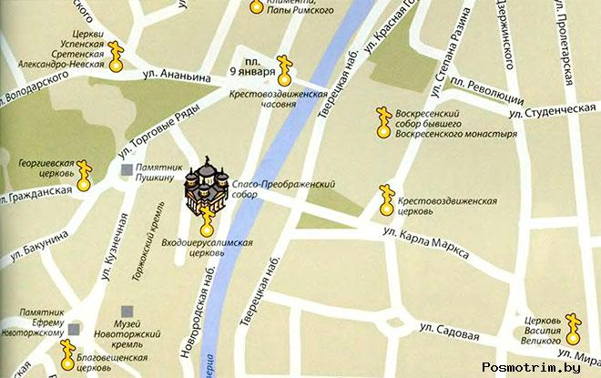 Расположение Преображенского собора на карте Торжка