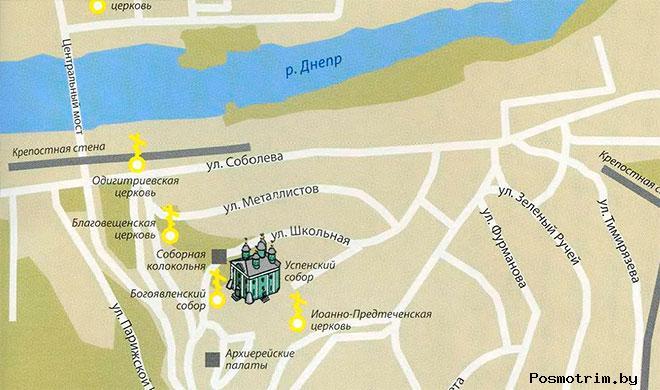 Успенский собор Смоленска богослужения контакты как добраться расположение на карте