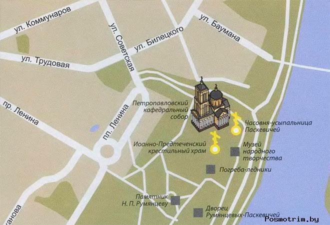 Петропавловский собор Гомель богослужения контакты как добраться расположение на карте