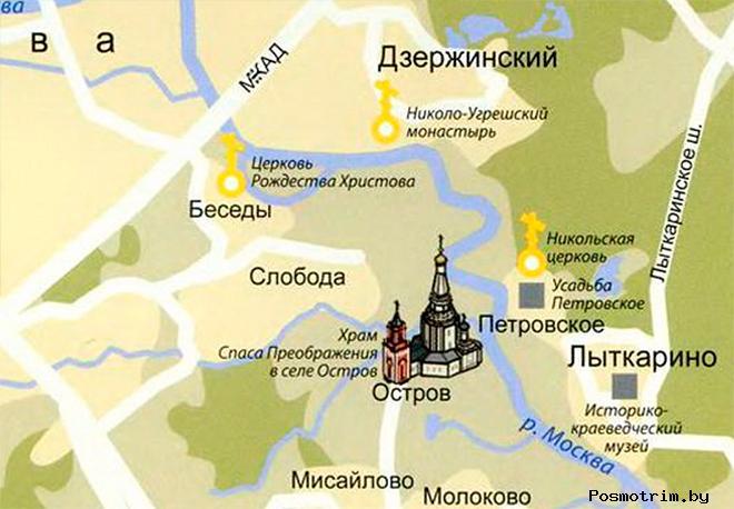 Храм Преображения Господня в Острове богослужения контакты как добраться расположение на карте