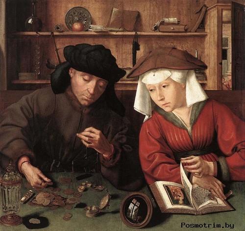 Меняла с женой - Квентин Массейс. Около 1510-1515. Дерево, масло. 71x68