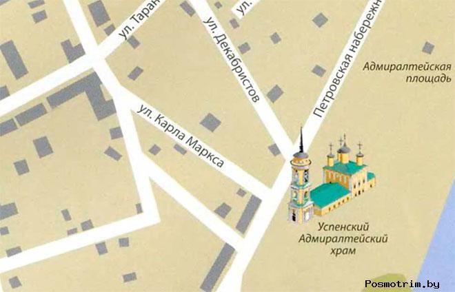 Успенская церковь Воронежа богослужения контакты как добраться расположение на карте