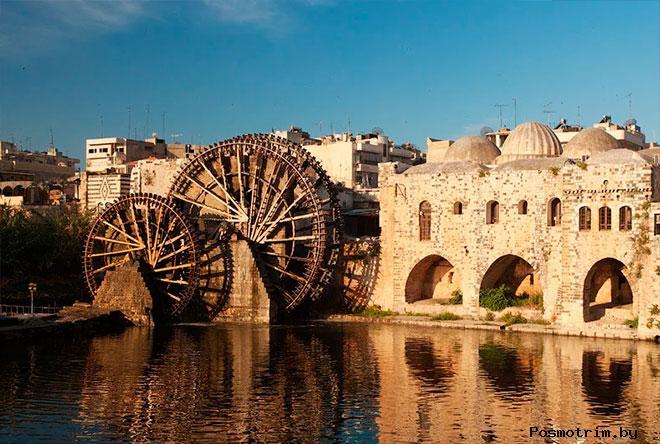 Город Хама Сирия водяные колеса