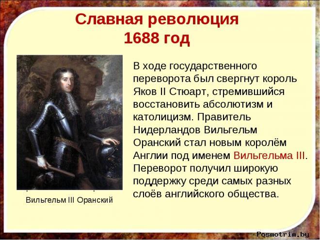 Свержение Якова II в ходе Славной революции