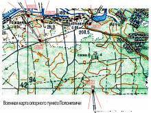 Расположение на карте ОП Полоневичи Минского укрепрайона и расположение ДОТов второй мировой войны Линии Сталина на карте