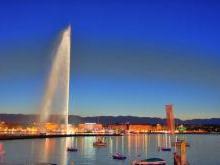 Фонтан Женевского озера Швейцария